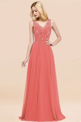 Straps V Neck  Applique Crystal Sequin Floor Length A Line Prom Dresses_7