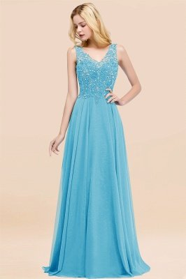 Straps V Neck  Applique Crystal Sequin Floor Length A Line Prom Dresses_24