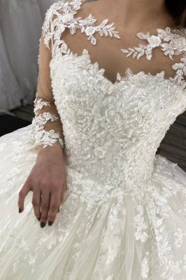 Long Sleeves Lace Appliques Tulle White Wedding Gowns_2