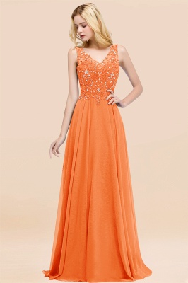 Straps V Neck  Applique Crystal Sequin Floor Length A Line Prom Dresses_15