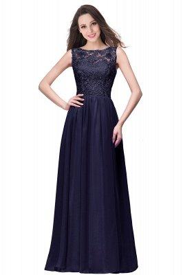 ELYSE | A-line Sleeveless Crew Floor-length Lace Top Chiffon Prom Dresses_5