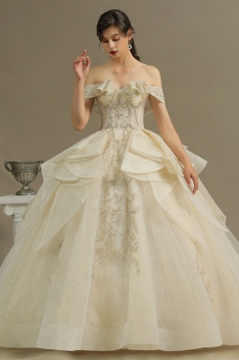 Gorgeous Off-the-Shoulder Ivory Wedding Dresses Floral Appliques Ball Gown Bridal Dress