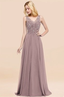 Straps V Neck  Applique Crystal Sequin Floor Length A Line Prom Dresses_36