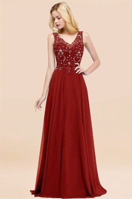 Straps V Neck  Applique Crystal Sequin Floor Length A Line Prom Dresses_47