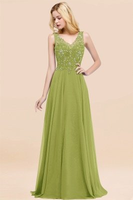 Straps V Neck  Applique Crystal Sequin Floor Length A Line Prom Dresses_33