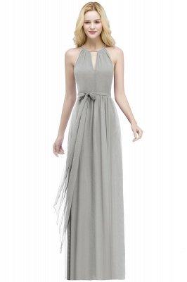 A-line Halter Floor Length Burgundy Bridesmaid Dress with Bow Sash_7