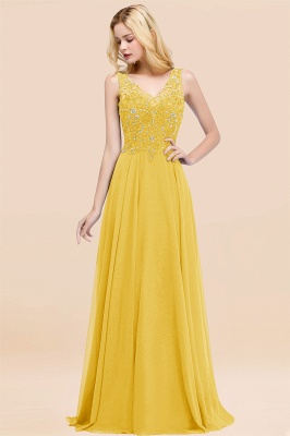 Straps V Neck  Applique Crystal Sequin Floor Length A Line Prom Dresses_17