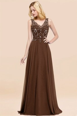 Straps V Neck  Applique Crystal Sequin Floor Length A Line Prom Dresses_12