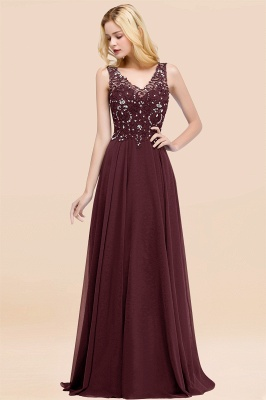 Straps V Neck  Applique Crystal Sequin Floor Length A Line Prom Dresses_46