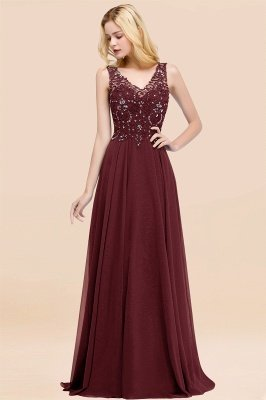 Straps V Neck  Applique Crystal Sequin Floor Length A Line Prom Dresses_10