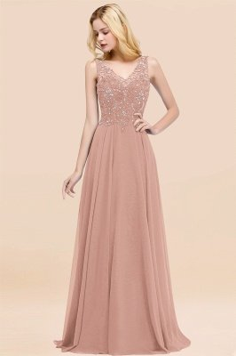 Straps V Neck  Applique Crystal Sequin Floor Length A Line Prom Dresses_6
