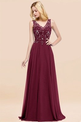 Straps V Neck  Applique Crystal Sequin Floor Length A Line Prom Dresses_43