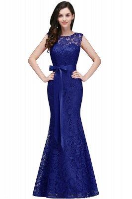 Ribbon Sash Floor-length Sleeveless Lace Mermaid Evening Dress_3