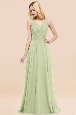 Straps V Neck  Applique Crystal Sequin Floor Length A Line Prom Dresses_34