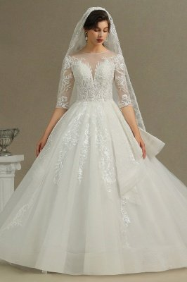 Luxury Long Sleeves Lace Bridal Gowns Floral Crew Neck A Line Spring Garden Dress_2