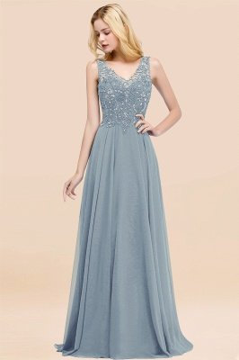 Straps V Neck  Applique Crystal Sequin Floor Length A Line Prom Dresses_39
