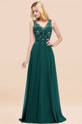 Straps V Neck  Applique Crystal Sequin Floor Length A Line Prom Dresses_32