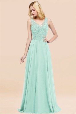 Straps V Neck  Applique Crystal Sequin Floor Length A Line Prom Dresses_35