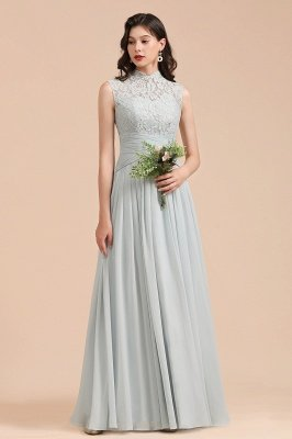 Floor Length Chiffon High Neck Lace Bridesmaid Dresses