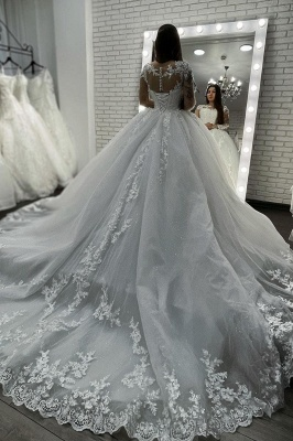 Long Sleeves Lace Appliques Tulle White Wedding Gowns_4