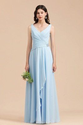 Sky Blue V-Neck Sleevels Ruffle Chiffon Bridesmaid Dress