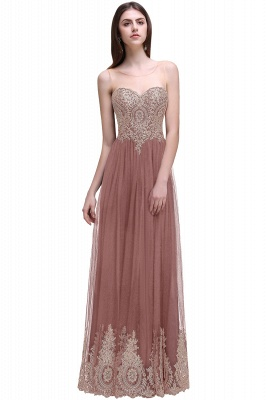 Black Tulle Long A-line Prom Dress with Appliques In Stock_1