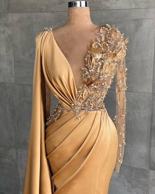 Gold Long Glitter Prom Dresses mermaid Evening dresses with sleeves_2