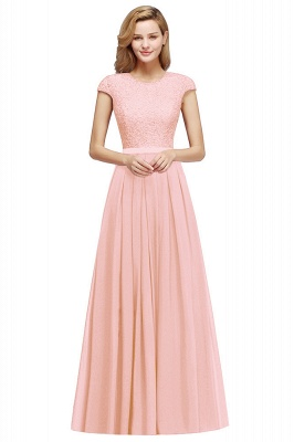 Cheap A-line Jewel Short Sleeves Chiffon Lace Bridesmaid Dress in Stock_1