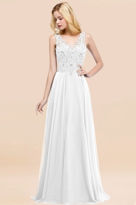 Straps V Neck  Applique Crystal Sequin Floor Length A Line Prom Dresses_1