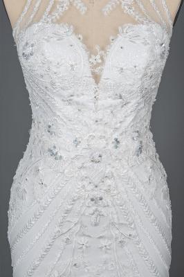 Elegant Jewel Sleeveless Tulle Lace Mermaid Wedding Dresses Long_10