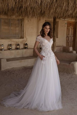 Beautiful Off The Shoulder White Lace Wedding Dresses Long_1