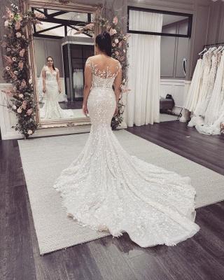 Elegant Off The Shoulder Tulle Lace Mermaid Wedding Dresses_5