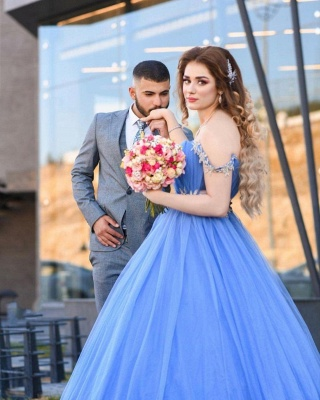 Gorgeous Off The Shoulder Sleeveless Tulle Light Blue Prom Dresses_3