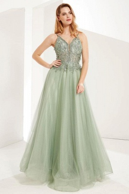 Elegant Sleeveless Dustysage Green Prom Dresses With Lace Appliques_1