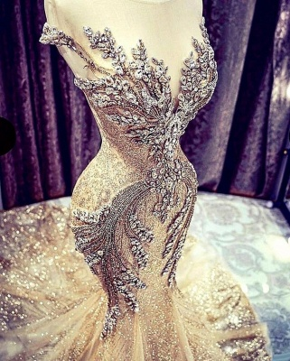 Luxury Sleeveless Jewel Bronzing Crystal Beading Wedding Dresses Mermaid_4