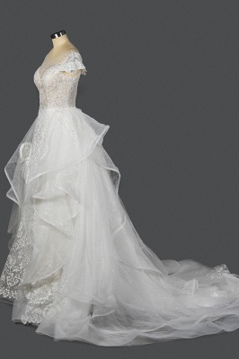 A-Line White Tulle Ruffles Beading Lace Wedding Dresses With Short Sleeves_4