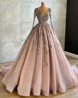 Luxury Long Sleeves Tulle Ruffles Nude Pink Prom Dresses_2