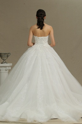 Elegant Strapless White Lace Wedding Dresses Floor-length_3