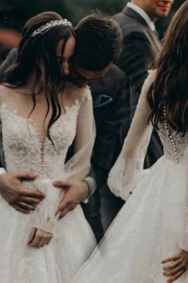 A-Line Lace Long Sleeves White Wedding Dresses Chapel Train_1