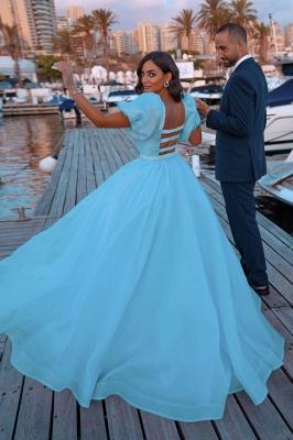 Sexy Short Sleeves Mermaid Square Sequin Chiffon Prom Dresses_3