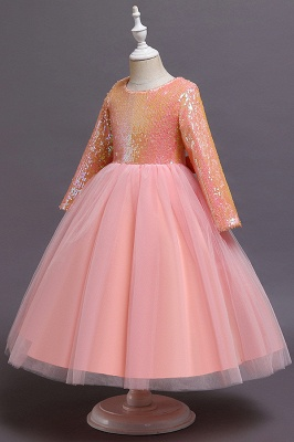 Princess Long Sleeves Sequins Flower Girls Dresses Ankle-Length_7