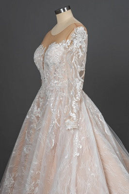 Gorgeous Long Sleeves Tulle Beading Wedding Dresses With Lace Appliques_10