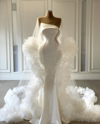 Mordest Satin Mermaid White Wedding Gowns with Ruffles_2