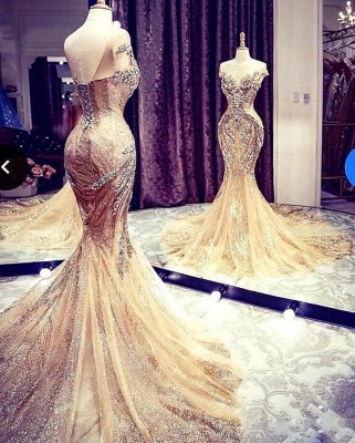 Luxury Sleeveless Jewel Bronzing Crystal Beading Wedding Dresses Mermaid_5