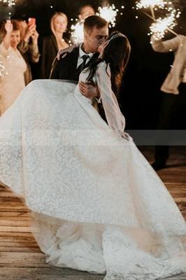 A-Line Lace Long Sleeves White Wedding Dresses Chapel Train_5