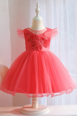 Princess Short Sleeves Beading Flower Girls Dresses With Bowknot_3