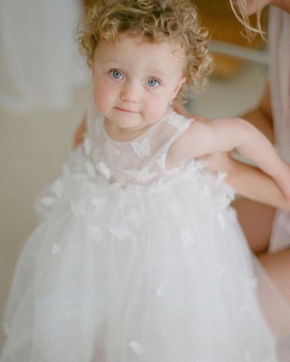 Cute White Jewel Flower Girls Dresses With Lace Appliques_3