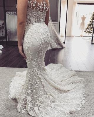 Elegant Off The Shoulder Tulle Lace Mermaid Wedding Dresses_2