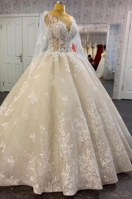 Pirncess Long Sleeves Lace Bridal Gown A-line Wedding Dress_1