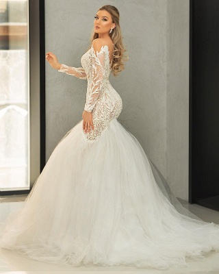 Sexy Sweetheart Long Sleeves Mermaid Wedding Dresses With Lace Appliques_2